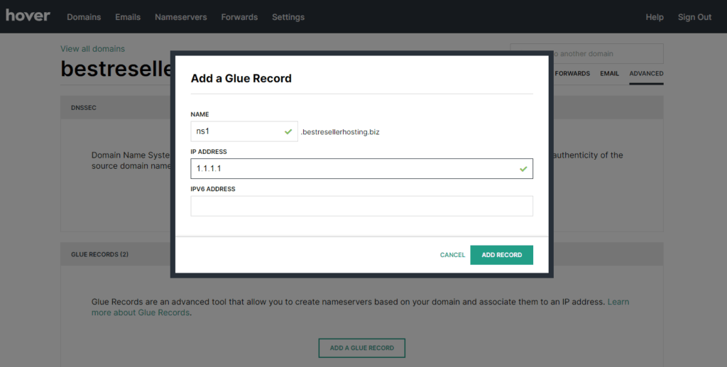 Add a Glue Record at Hover